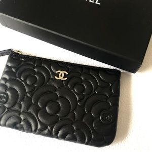 CHANEL Camellia Embossed Pouch O Case